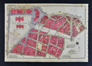 Map Of New York Downtown Manhattan.1934 Bromley New York City Map City Hall Park Brooklyn Bridge