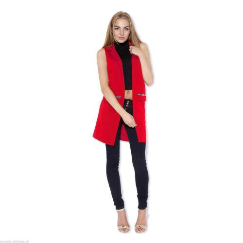 Ladies Womens Crepe Celeb Inspired Sleeveless Long Waistcoat Blazer Jacket