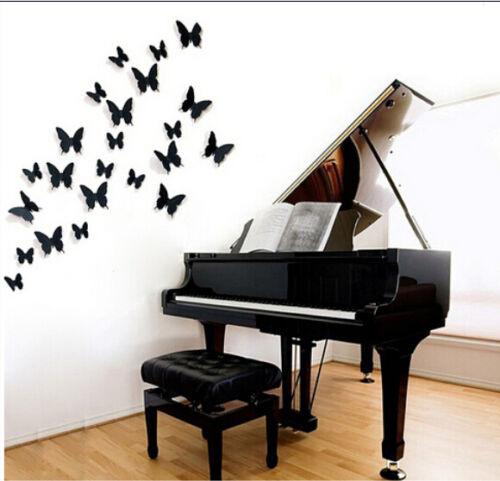 HOT 3D Wall Art Stickers Home Wall Decor DIY Room Decoration 12pcs Butterfly E9