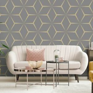 Harper-Papier-Peint-Geometrique-9740-Belgravia-Decor-Gris-Jaune-Paillette