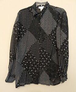 Jones-New-York-Sports-women-039-s-sz-L-Long-sleeve-Button-up-Blouse-black-amp-white