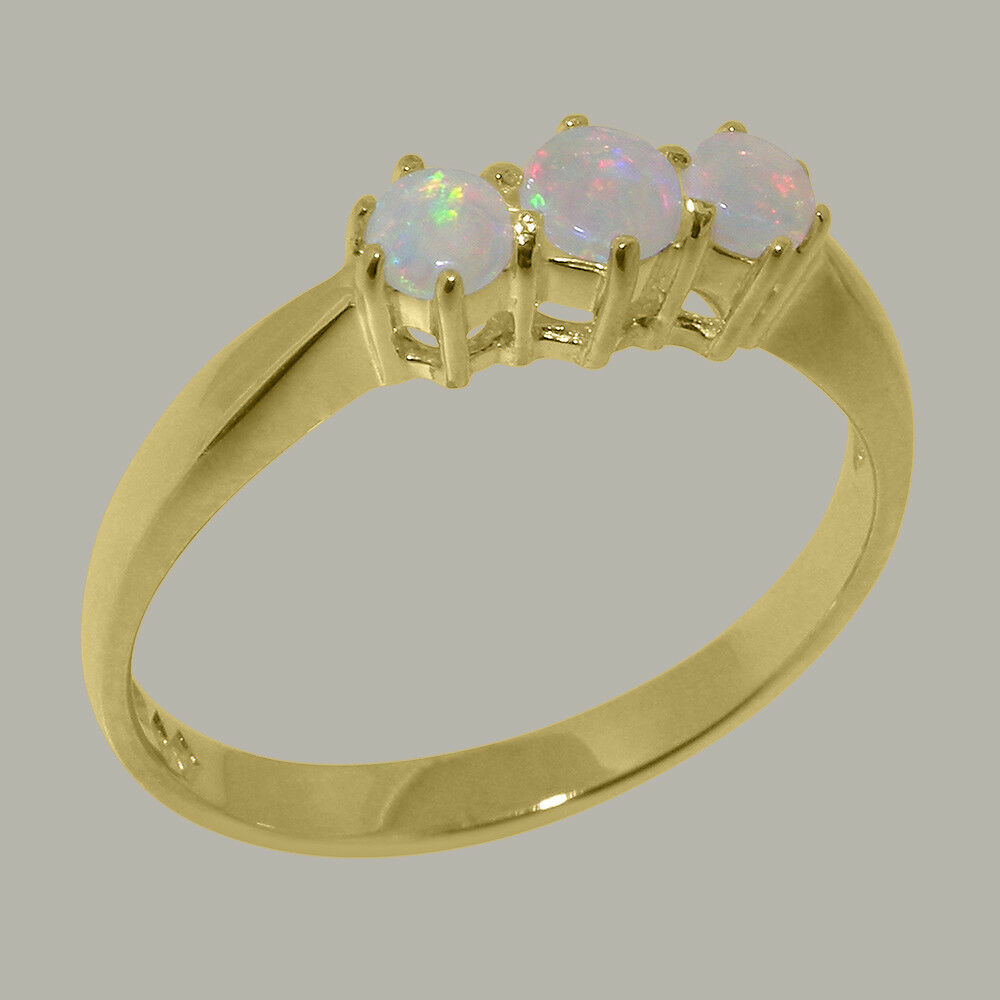 Solid 18k Yellow gold Natural Opal Womens Trilogy Ring - Sizes 4 to 12