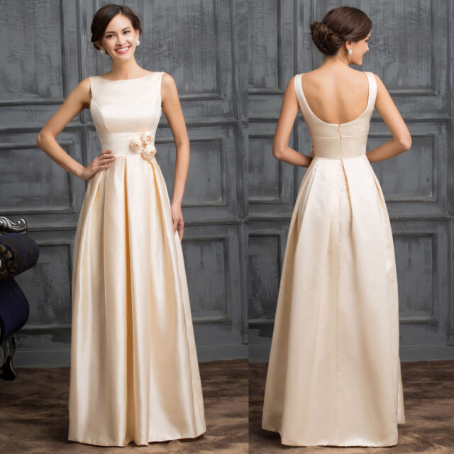 Apricot Long Chiffon Prom Formal Party Evening Zipper Cocktail Ball Gown Dresses