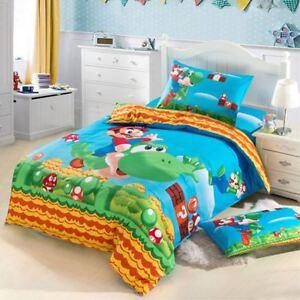 Super Mario Bros Kids Bed Sheet Set Duvet Cover Pillow Case