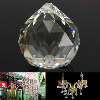 50mm Clear Crystal Glass Ball Lamp Prisms Part Hanging Drops Pendant Bead Decor