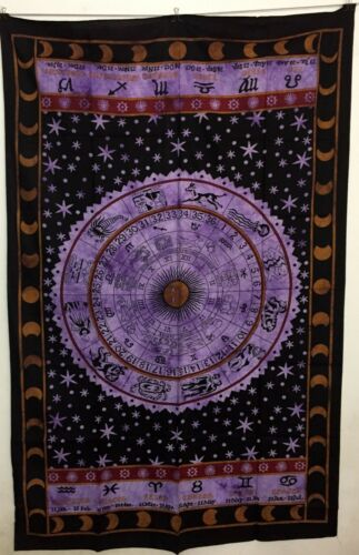 Zodiac Sun Sign Beautiful Design Wall Hanging Ethnic Hippie Twin Bed Spread Art