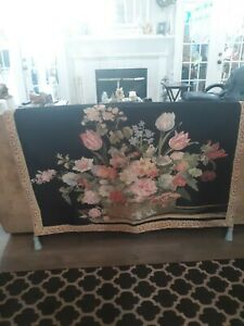 Vtg-Wall-Hanging-Tapestry-French-Floral-Basket-Quality-Made-52-034-X-37-034-Art-decor