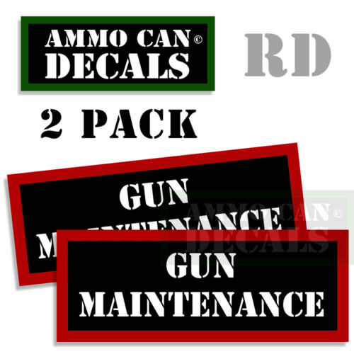 Gun Maintenance Ammo Can Stickers Ammunition Gun Case Labels Decals 2 pack RED