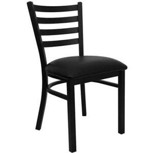 Flash Furniture Ladder Back Chairs - Set of 2, Black Metal / Black Vinyl Seat W
