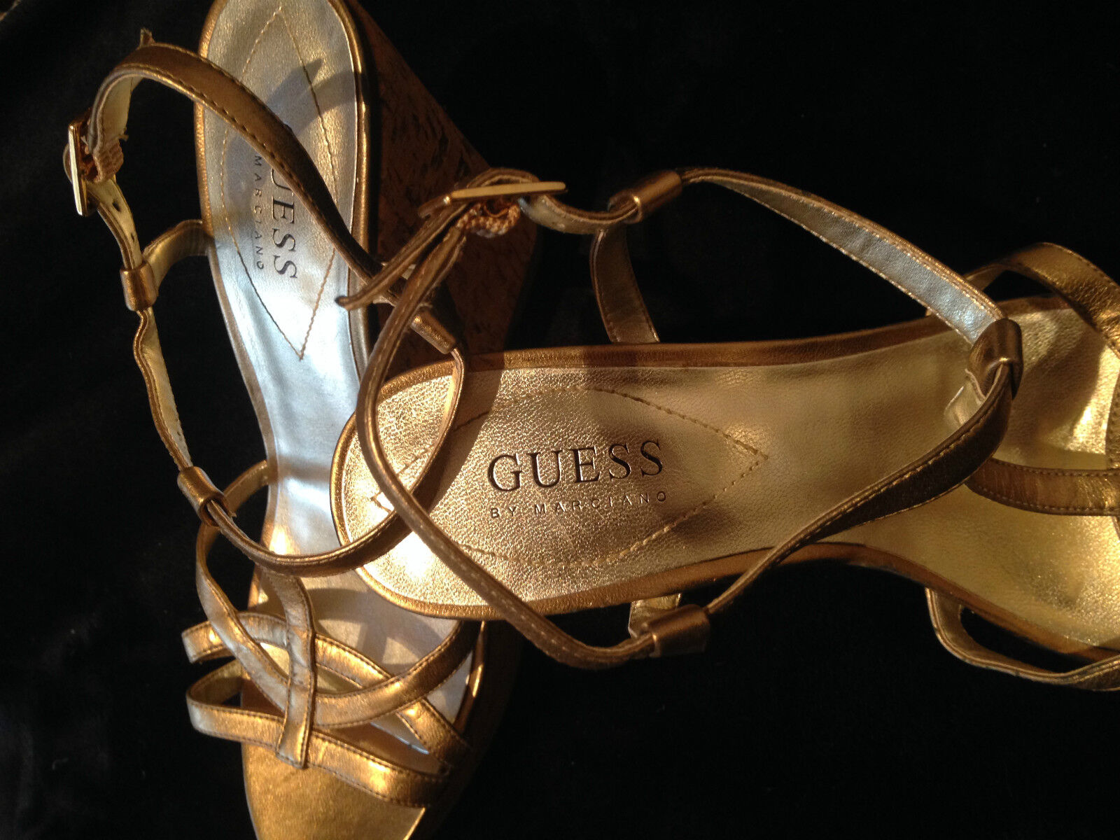 New Guess by Marciano gold platform shoes