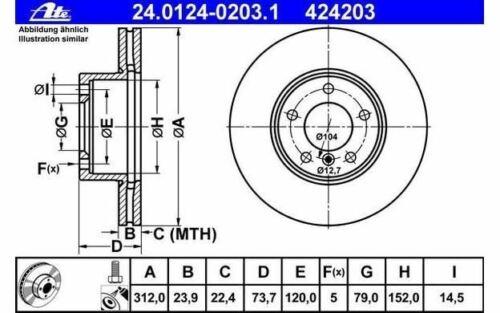 2x ATE Bremsscheiben vorne belüftet 312mm für BMW 1er-Reihe X1 24.0124-0203.1