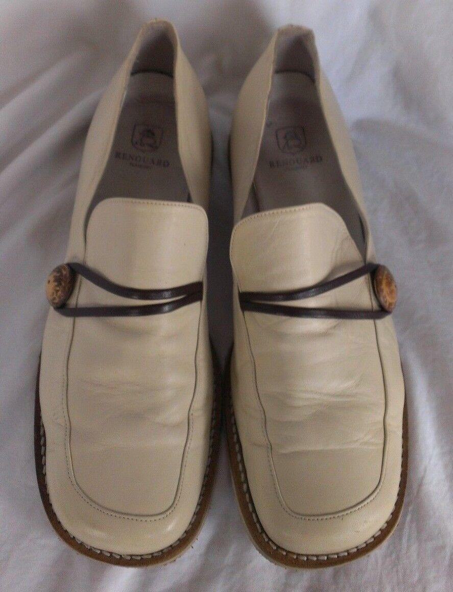 Renouard Plancoet Women's Bone Tan White Tan Bone Wooden Button Loafers Size 41 - US 10.5 e6647b