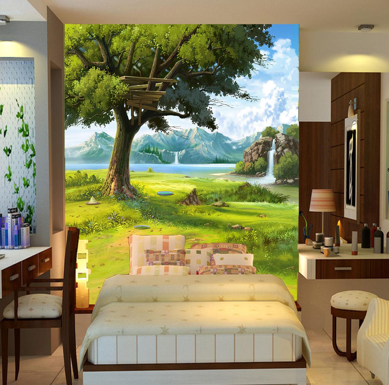 3D Die üppigen bäumen am See Fototapeten Wandbild Fototapete BildTapete Familie