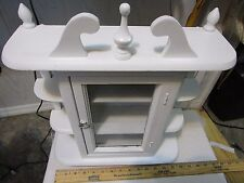 Vintage Wood Curio Cabinet for Table Top or Wall Hanging color white