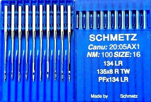 16 Agujas de Máquina de Coser Industrial 100 Tamaño Schmetz PFX134LR 135X8 RTW 134LR casi como nuevo