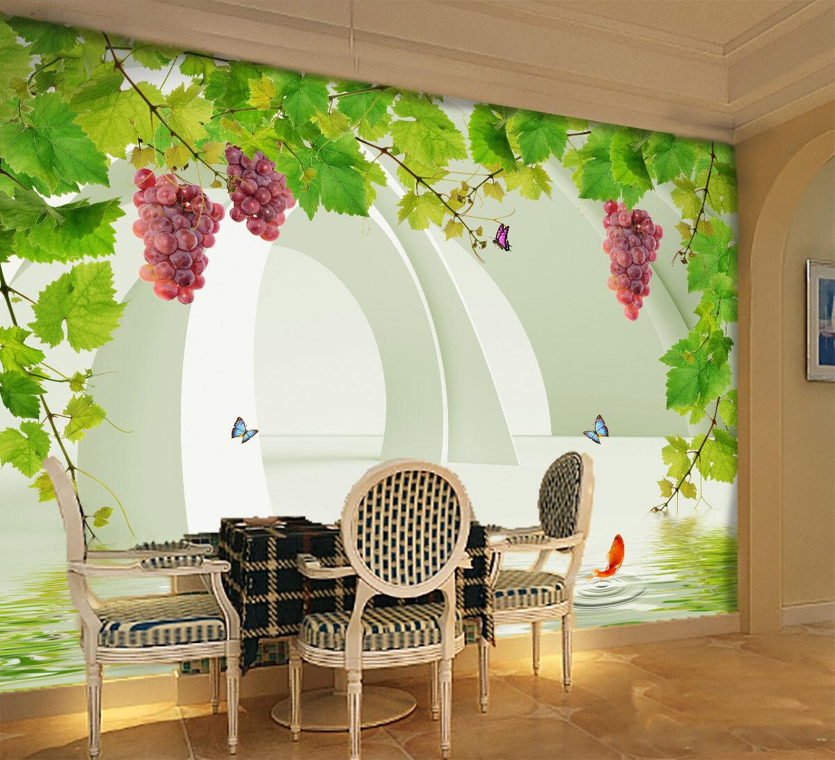 3D Simple Grape Leaf  Paper Wall Print Decal Wall Wall Murals AJ WALLPAPER GB