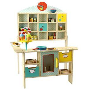 kaufladen aus holz kaufmannsladen verkaufsstand eisdiele marktstand kiosk kinder ebay. Black Bedroom Furniture Sets. Home Design Ideas