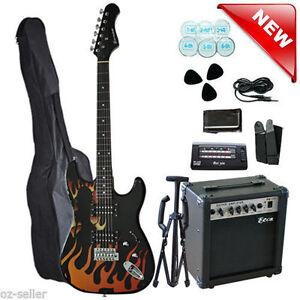 Electric-Guitar-with-AMP-Tuner-Tripod-Picks-Bag-Multiple-Pickup-Flame-Design