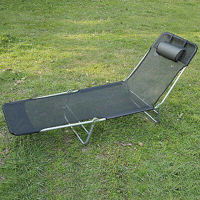 BLACK SUN BED CHAIR GARDEN LOUNGER RECLINER ADJUSTABLE BACK RELAXER FURNITURE