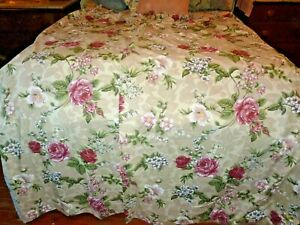 Pinch-Pleat-Drapes-2-Panels-Roses-Floral-Lined-Weighted-56-034-x-72-034-Shabby-Decor