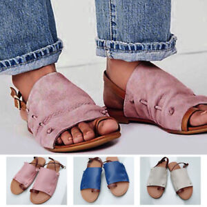 da31f3c82cc997 Women Leather Flat Slip On Peep Toe Roma Gladiator Sandals Summer ...