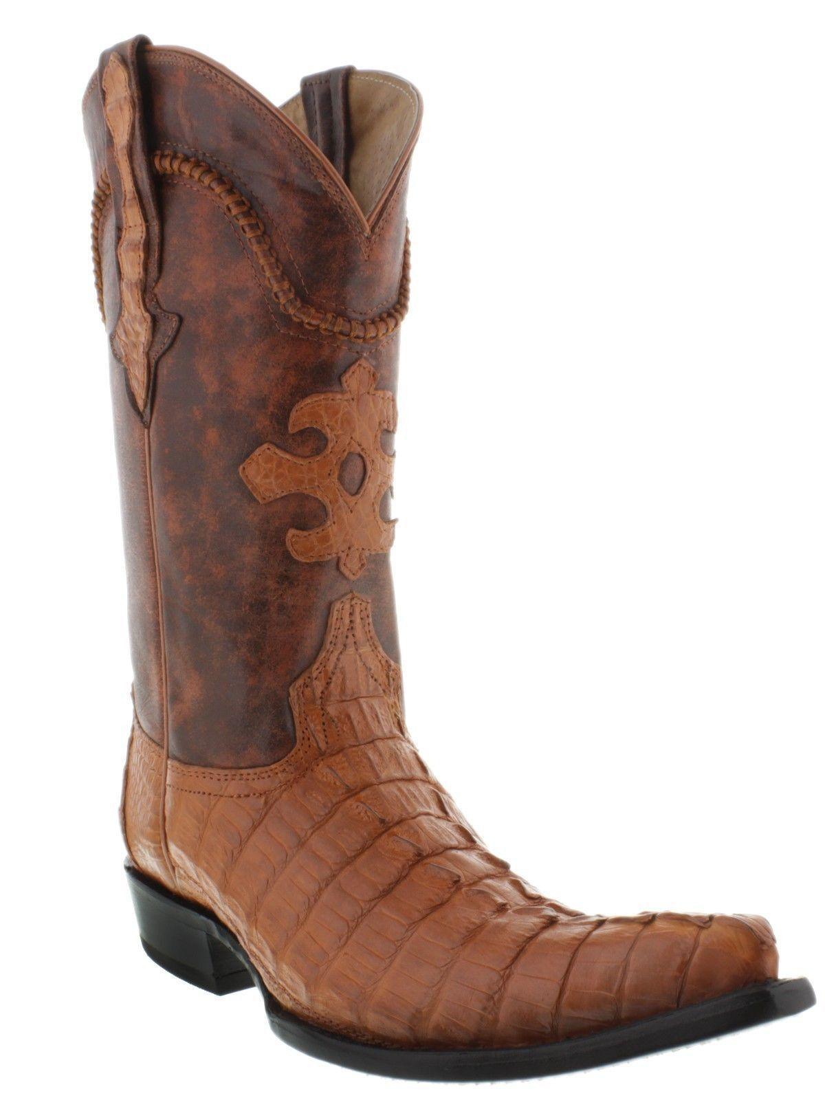 Mens Genuine Cognac Alligator Crocodile Leather Western Cowboy Boots 3X Toe