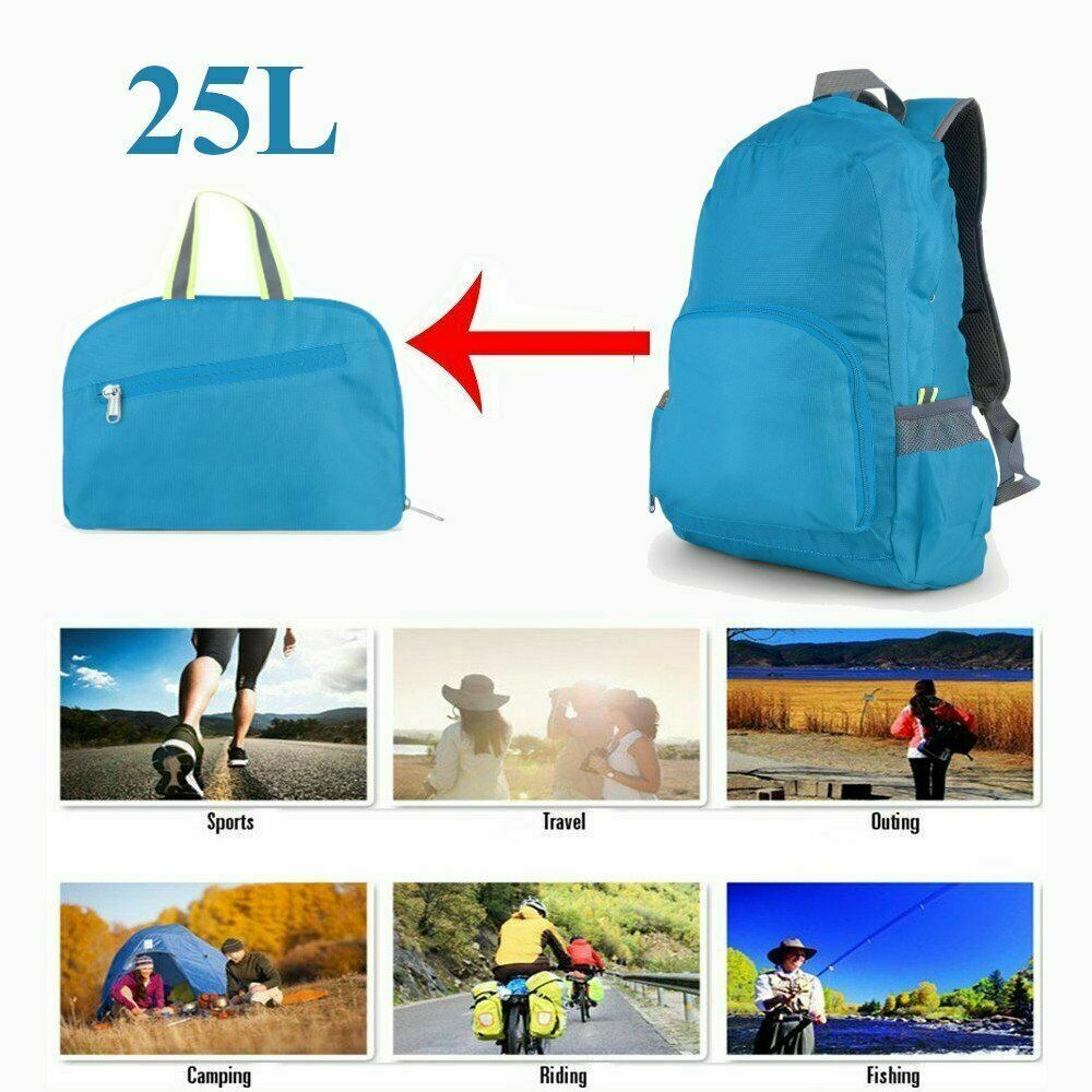 25L Foldable exterior Travel Backpack Women Men Hiking Sports Camping B... - s l1600