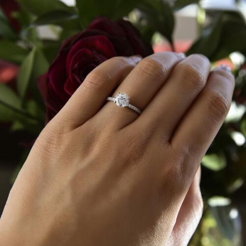 1.25 Ct Round Cut Solitaire Diamond Engagement Ring 14k White Gold Over 3