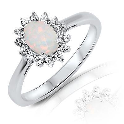 Pink Fire Opal Heart Cut w// White Sapphire CZ Sterling Silver Ring Sizes 3-11
