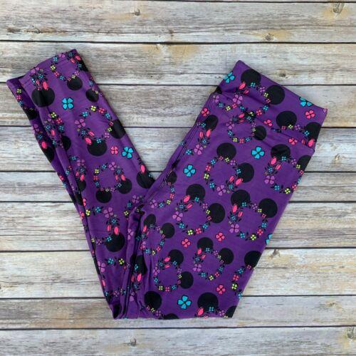 Mickey Minnie Mouse Ears Flowers Wreath Women/'s Leggings TC Plus Size 12-20