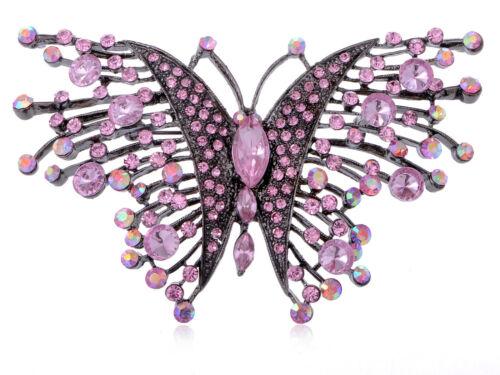 Silver Rhinestone Crystal Enamel Wedding Bridal Flower Butterfly Brooch Pin Gift
