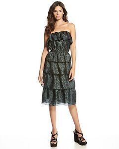 020961b1af NWT 375 Rebecca Taylor Women Animal Print Silk Lined Strapless ...