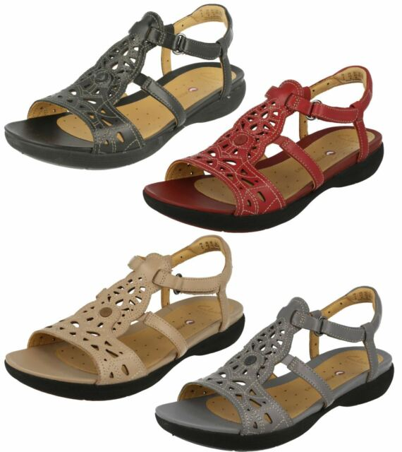 fa4e95b3a26 LADIES CLARKS UNSTRUCTURED LEATHER WEDGE CASUAL FLAT SUMMER SANDALS UN  VALENCIA
