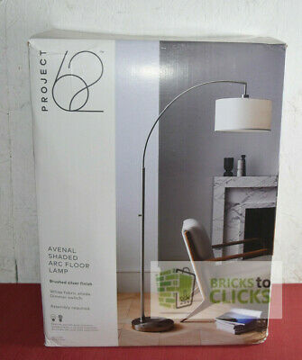 Project 62 Avenal Shaded Arc Floor Lamp Brushed Silver