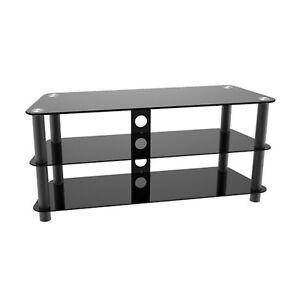 fernseher tv tisch rack lowboard hifi regal unter schrank glas kabel kanal ebay. Black Bedroom Furniture Sets. Home Design Ideas