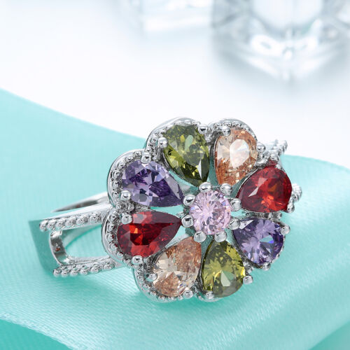 Femme Fashion Jewelry 925 Silver Charm Colorful Bagues Gemme Taille 6-9