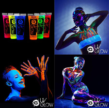 UV Glow Blacklight Face Body Paint Set of 6 Tubes Neon Fluorescent Premium