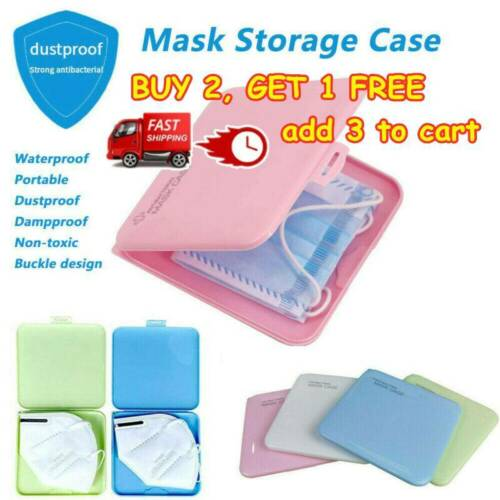 Face Mask Storage Case Face Coving Holder Portable Box Travel Organizer UK A+