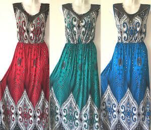 PLUS-SIZE-Women-Long-Maxi-summer-beach-hawaiian-Boho-evening-party-sundress