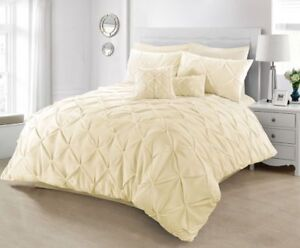 Image Is Loading Pintuck Cream Room Bed Duvet Cover Set Bedding
