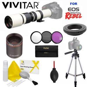 VIVITAR-WHITE-LINE-PRO-TELEPHOTO-TELESCOPIC-ZOOM-LENS-FOR-CANON-EOS-REBEL-DSLR