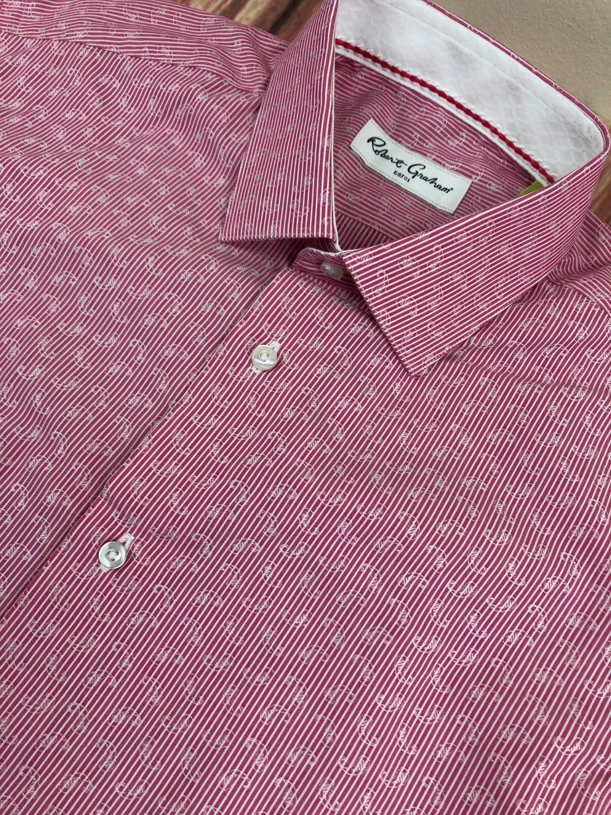 Herren Robert Graham Luxury Leaf Weiß ROT Striped Pattern Shirt Größe 15.5'' /39