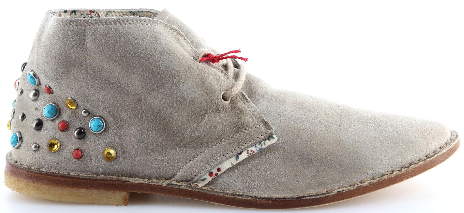 chaussures Mujer Botines Desert Boot YAB Clark Gamuza Gris Pernos Coloridos Made IT