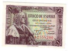 PLANCHA 1 peseta 1945 Reina serie A - Banco de España 15 de Junio 1945
