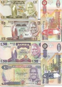 ZAMBIA COLLECTION of 6 Notes 🌎 2, 5, 50, 50, 100, 100 Kwacha Notes; Mostly UNC