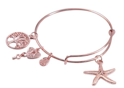 1PCS Fashion Or Rose Plaque Extensible Fil Bracelet Bangle