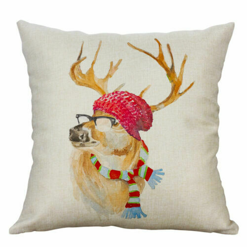 "Throw Pillow Deer Colorful 18/"" Decor Linen Case Cushion Sofa Cotton Home Cover"