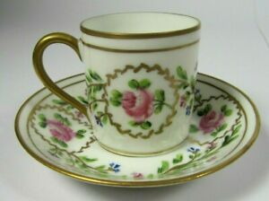 French-Antique-Porcelain-LIMOGES-Empire-Cabinet-Tea-Cup-and-Saucer-Hand-Painted