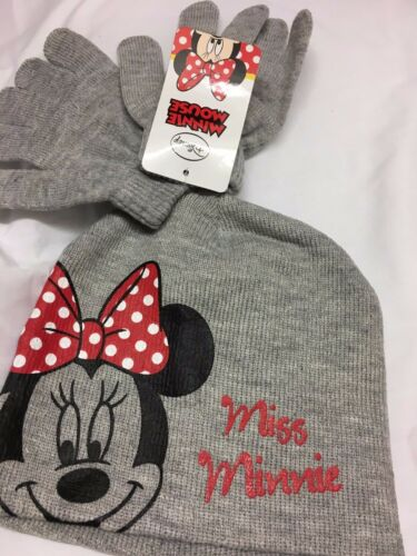 disney minnie mouse pull on hat /& gloves girls hats grey pink red hat glove