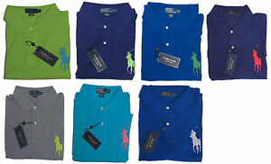 Image is loading Ralph-Lauren-Mens-Solid-Big-Pony-Blue-Green-